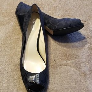 Black Canvas Coach Peep Toe Heel sz 9.5